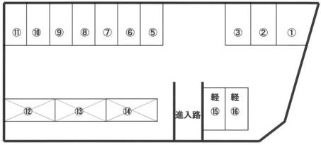 「神原駐車場」神戸市北区緑町3丁目の賃貸駐車場の区画図です