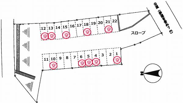 「鈴蘭台東町5丁目駐車場」神戸市北区鈴蘭台東町5丁目の賃貸駐車場の区画図です