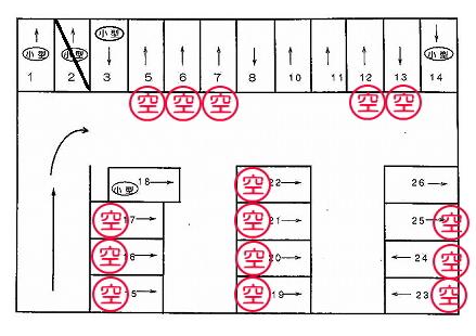 「泉台矢部パーキング」神戸市北区泉台3丁目の賃貸駐車場の区画図です